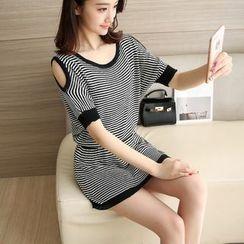 Shomez - Set: Short-Sleeve Shoulder Cut Out Striped Top + Skirt