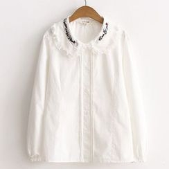 ninna nanna - Musical Embroidered Collared Blouse