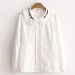 ninna nanna - 音符刺繡飾領襯衫