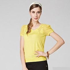 O.SA - Crochet-Front Knit-Panel Top