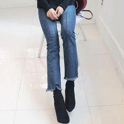 DABAGIRL - Fringe-Hem Seam-Trim Semi Boot-Cut Jeans