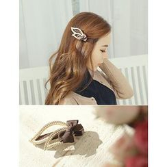 soo n soo - Ribbon Faux-Pearl Hair Claw