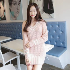Envy Look - V-Neck Cable-Knit Mini Dress