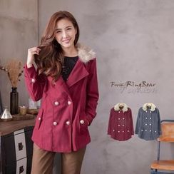 RingBear - Bouble-Breasted Removable-Fleece-Collar Coat