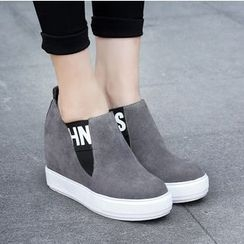Shoes Galore - Letter Hidden Wedge Slip Ons