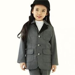 TWINSBILLY - Girls Notched-Lapel Checked Coat