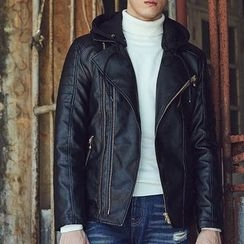 2RZ - Faux-Leather Hooded Jacket