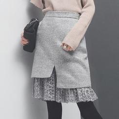 Sonne - Lace-Hem Wool Pencil Skirt