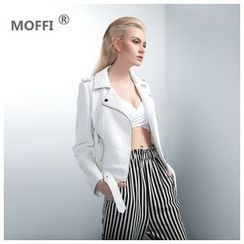 MOFFI - Patchwork Lapel Cropped Jacket with Belt