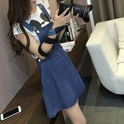 Yohana - Denim A-Line Jumper Dress