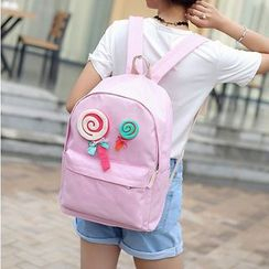 Youme - Set of 2: Lollipop Applique Backpack + Crossbody Bag