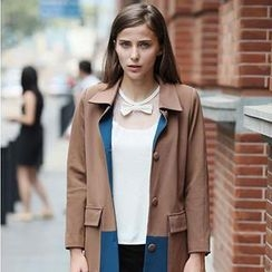 YiGelila - Color-Block Trench Coat