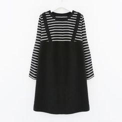 Meimei - Mock Two-piece Stripe Long-Sleeve Dress