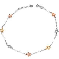 MaBelle - 14K Tri-Color Gold Diamond-Cut Stars Anklet / Braclet ('8')