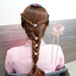 MI LI - Set of 4: Rhinestone Flower Hair Stick