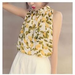 HazyDazy - Sleeveless Chiffon Print Top