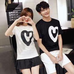 Je T'aime - Couple Matching Heart Print Short-Sleeve T-Shirt
