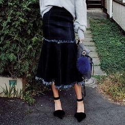 chuu - Fringed Denim Midi Mermaid Skirt