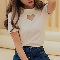 Ashlee - Heart Mesh Panel Short-Sleeve T-shirt