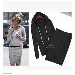 Persephone - Set: Hood Pullover + Asymmetric Pencil Skirt