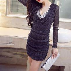 Silkfold - Long-Sleeve V-Neck Glitter Sheath Dress