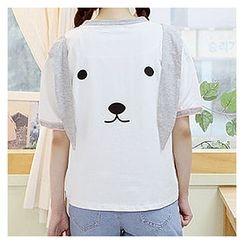 Sechuna - Contrast-Trim Printed T-Shirt