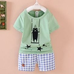 POMME - Kids Set: Printed Short-Sleeve T-shirt + Gingham Pants
