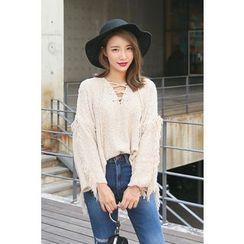 PPGIRL - Lace-Up Fringed-Trim Knit Top