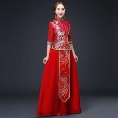 Royal Style - Lace-Sleeve Wedding Cheongsam
