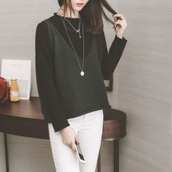 GLYUN - Set: Top + Sleeveless Knit Top