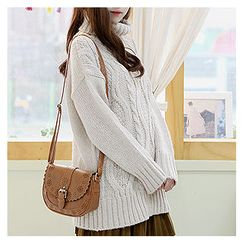 Sechuna - Turtle-Neck Drop-Shoulder Knit Top