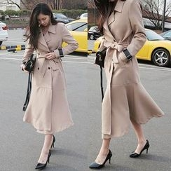 Seoul Fashion - Padded-Shoulder Ruffle-Hem Trench Coat