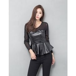 GUMZZI - Sheer Long Sleeve Faux-Leather Peplum Top