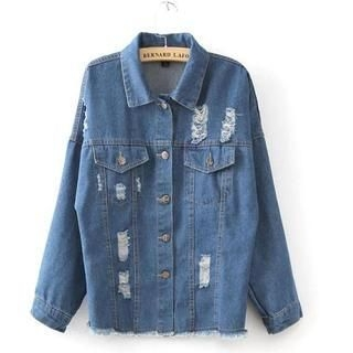 JVL - Distressed Loose-Fit Denim Jacket