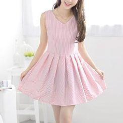 59 Seconds - Sleeveless Tie-Waist Striped A-Line Dress