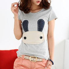 59 Seconds - Short-Sleeved Rabbit Print Top
