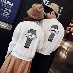 Evolu Fashion - Cartoon Appliqué Couple Matching Jacket