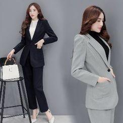 Romantica - Set: Single-Button Blazer + Plain Pants