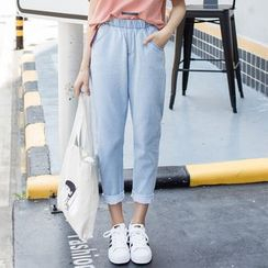 Denimot - Band Waist Straight-Cut Jeans