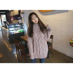 Envy Look - Turtle-Neck Long Cable Sweater