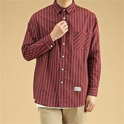 THE COVER - Pocket-Front Pinstriped Loose-Fit Shirt