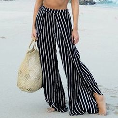 Sunset Hours - Stripe Slit Wide Leg Pants