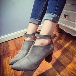 QQ Trend - Strapped Chunky Heel Ankle Boots