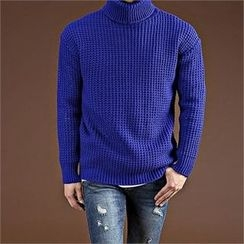 THE COVER - Turtle-Neck Textured Knit Top