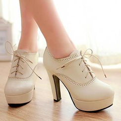 Sidewalk - Chunky Heel Lace-up Shoes