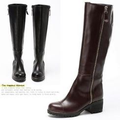 MODELSIS - Genuine Leather Zip-Side Long Boots