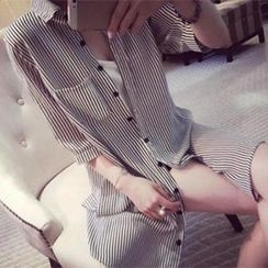 DreamyShow - Elbow-Sleeve Pinstriped Long Shirt