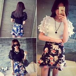 QZ Lady - Set: Short-Sleeve Top + Floral Ruffle Skirt
