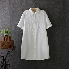 Blue Rose - Embroidered Short-Sleeve Shirtdress