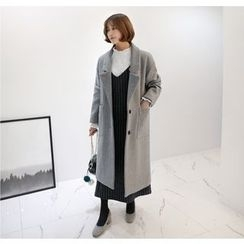 Miamasvin - Single-Breasted Wool Blend Coat
